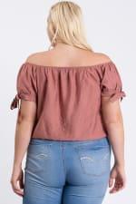 Off-Shoulder Short Sleeve Top - Mauve - Back