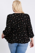Summer Feeling Floral Peplum Top - Black - Back