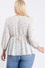 Summer Feeling Floral Peplum Top - Off-White - Back