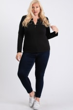 V-Neck Plain Sweater - Black - Front