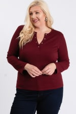 V-Neck Plain Sweater - Burgundy - Front