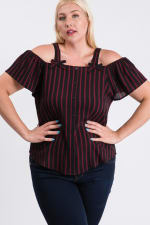 Striped Cold-shoulder Top - Burgundy - Front