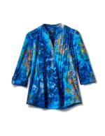 Royal Clip Jacquard Pintuck Knit Popover - Royal - Front