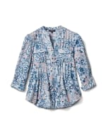 Floral Paisley Pintuck Knit Popover-Petite - Peri - Front