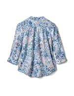 Floral Paisley Pintuck Knit Popover-Petite - Peri - Back