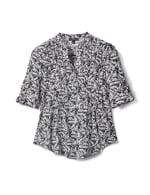 Elbow Palm Print Knit Popover-Petite - White-Black - Front