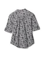 Elbow Palm Print Knit Popover-Petite - White-Black - Back