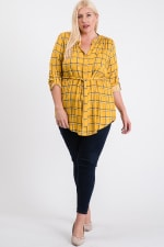 Playful Plaid Tunic Shirt - Mustard - Front