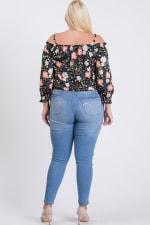 Satin Floral Off-Shoulder Top - Black - Back