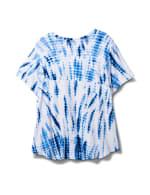 Embellished Tie Dye Knit Top - Blue/White - Back