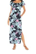 Caribbean Joe® Off The Shoulder Maxi Dress - Black - Front