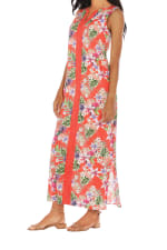 Caribbean Joe® Maxi Side Slit Dress - Red - Detail