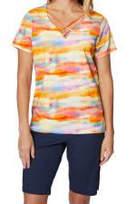 Caribbean Joe® Criss Cross Knit Top - Saffron - Front