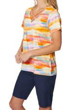 Caribbean Joe® Criss Cross Knit Top - Saffron - Back