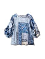 Patchwork Ruffle Sleeve Blouse - Navy Blazer/Chino - Back