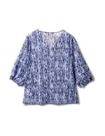 V Neck Button Front Blouse - Light Blue/Navy Blazer - Back