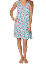 Caribbean Joe® Crinkle Gauze  Dress - Green - Front