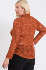 Lace Buttoned Blouse - Rust - Back