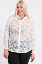 Lace Buttoned Blouse - White - Front