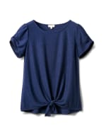 Clip Dot Tie Front Knit Tee - Blue - Front