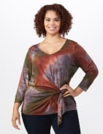 Multi Color Tie Dye Knit Top - Plus - Green/Rust - Front