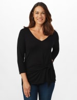 V-Neck Tie Front Knit Top - Misses - Black - Front