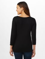V-Neck Tie Front Knit Top - Misses - Black - Back