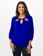 3/4 Sleeve Twist Cut Out Neck Top - Misses - DK Royal - Front