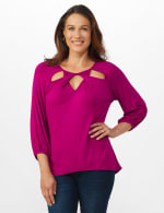 3/4 Sleeve Twist Cut Out Neck Top - Misses - Magenta - Front
