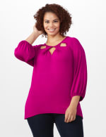 3/4 Sleeve Twist Cut Out Neck Top - Plus - Magenta - Front