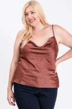 Printed Satin Cowl Neck Cami Top - Rust - Front