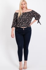 Small Flowers Off-Shoulder Top - 1