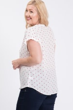 Dot Print Top With Pleated Neckline - 8