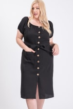 Sunny Day Poly Linen Button Dress - Black - Front