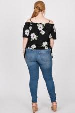 Big Flowers Off-Shoulder Top - Black - Back