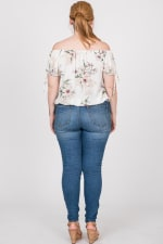 Delicate Floral Top - White - Back