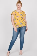 Colorful & Floral Print Top - Mustard - Front