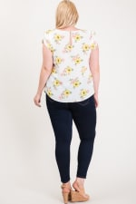 Light And Bright Floral Top - White - Back