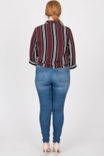 Stylish Striped Shirt - Burgundy - Back