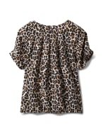 Animal Pleated Sleeve Bubble Hem Blouse - Ivory/Brown/Black - Back