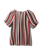 Multi Stripe Bubble Hem Blouse - Offwhite/Black/Rust - Back