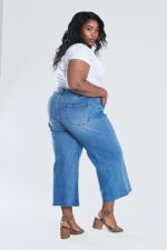 Denim Wide Leg Crop Pants - Medium stone - Back