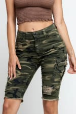 Ripped & Skinny Bermuda Shorts - Army - Front