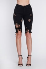 Ripped Distressed Bermuda Shorts - Black - Front