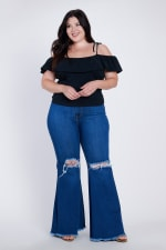 Plus Size Distressed Flare Jeans - Medium stone - Front