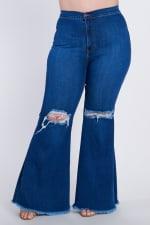 Plus Size Distressed Flare Jeans - Medium stone - Detail