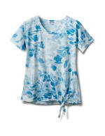 Tonal Floral Tie Front Knit Top - Blue - Front