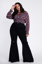 Plus Size Distressed Flare Jeans - 1