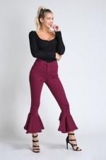 Burgundy Ruffle Bell-Bottom Jeans - 1