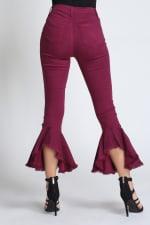 Burgundy Ruffle Bell-Bottom Jeans - 2